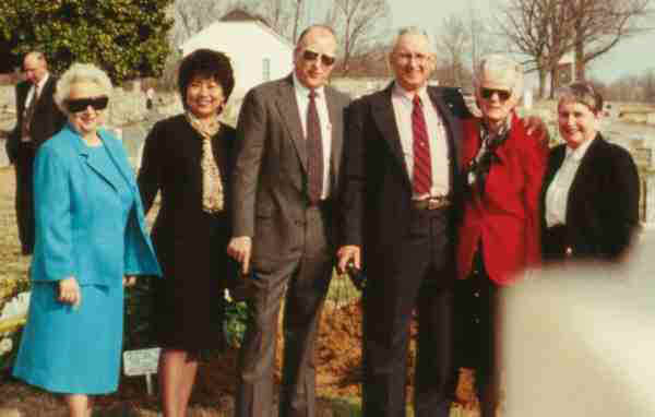 Mother, Angie, myself, Earl Ray and Sherry Pitt, Jane Harrison at Larry's grave
