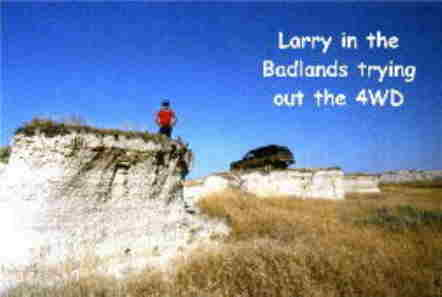 Larry in the Badlands trying out the 4WD